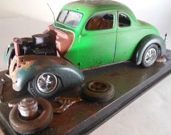 Scale Model, Rat Rod ,Green Car, Classic Wrecks, Hot Rod