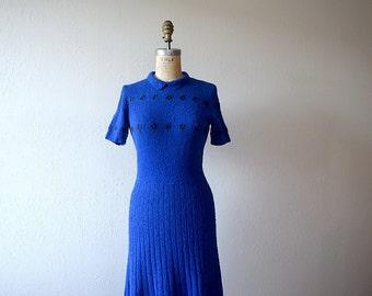 1950s knit dress . vintage 50s blue wool knit dress