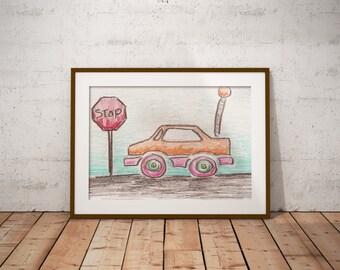 Orange Remote Control Car with Stop Sign PDF - Crayon Drawing - 8x10 - Crayon Art Print - Kid's Room Art - Baby's Room Art