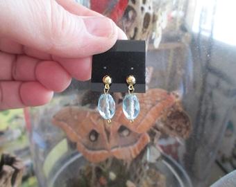 RARE Faceted London BLUE TOPAZ Gemstone Earrings, 22K Gold Plated, New, Handmade