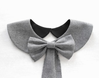 Casual Gray Collar Necklace / Black and White Handmade Peter Pan Collar with Detachable Bow Brooch