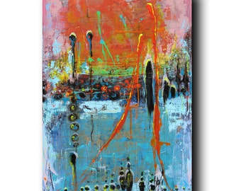 Art Painting Canvas painting ORIGINAL  ABSTRACT  PAINTING on canvas  ''Pulsation''  36''x24'' Acrylic on Canvas