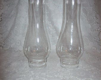 "Vintage Clear Glass Chimney Replacement Globe 9 3/4"" Tall Only 7 USD"