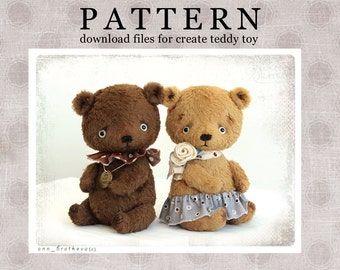 My new PATTERN Download to create teddy like Jelly and Jey 7inch