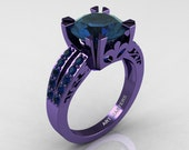 Modern Vintage 14K Purple Gold 3.0 Carat London Blue Sapphire Solitaire Ring R102-14KPGLBS