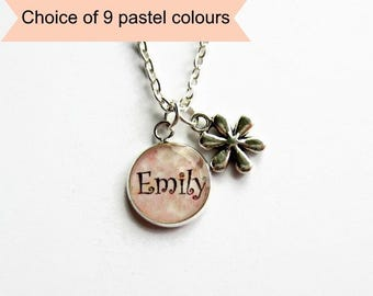 Girls Name Necklace, Personalised Flower Girl Necklace, Daisy Charm Necklace, Custom Bridesmaids Gift, Girls Jewellery - Choice of 9 Colours