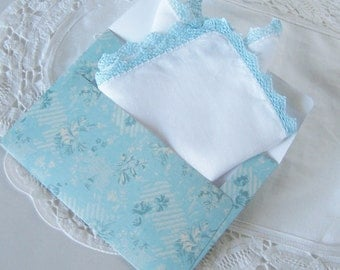 Something Blue, Gift for Bride, Vintage Handkerchief with Hand Made Lace, Bride's Handkerchief, Blue Bridal Shower Gift, with Gift Envelope