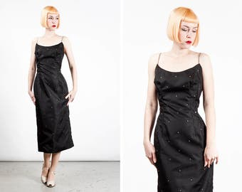 Vintage 1950s Lilli Diamond Rhinestone Bombshell Wiggle Dress