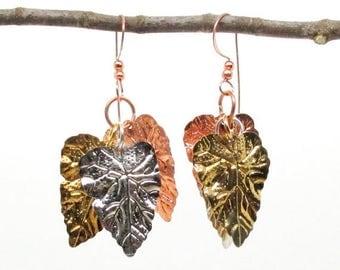 SALE Tri-color Metal Silver Copper Gold Leaf Earrings