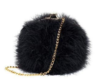 Black Fur Clutch Purse, Fluffy Black Purse with Gold Chain Cross-body Detailing