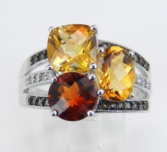 Madeira Citrine Smokey Topaz Diamond Multi Row Ring White Gold Size 7.25