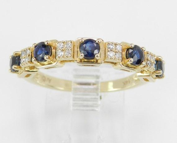 14K Yellow Gold Diamond and Sapphire Wedding Ring Anniversary Band Size 7