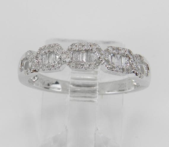 Diamond Wedding Ring Anniversary Band White Gold Stackable Size 7.25