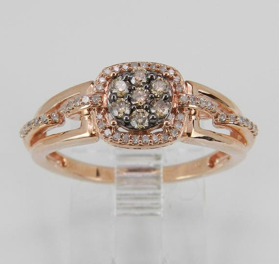 Diamond Cluster Ring Champagne Diamond Engagement Promise Rose Gold Size 6.75