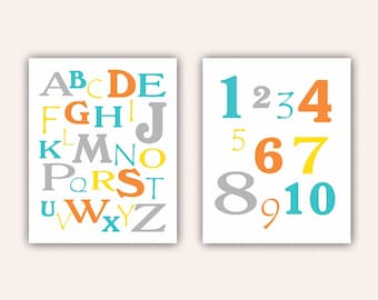Alphabet and Numbers Print Set - Teal and Orange ABC's and 123's for Kid's Bedroom - Custom Nursery Art (5003)