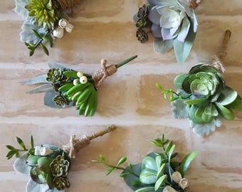 Mismatched set of 6 succulent buttonholes, boutonnieres.  Succulent buttonholes, boutonnieres. Artificial succulent buttonhole, boutonniere.