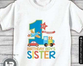 Transportation Birthday Shirt or Bodysuit - Birthday Boy's Sister Shirt - Planes, Trains and Automobile Birthday Shirt - made for ANY AGE