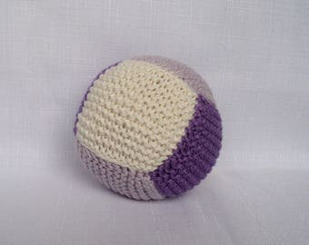 Cotton Baby Ball Rattle - Purple and Cream