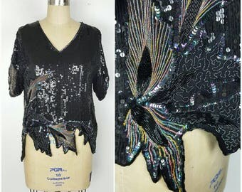 Royal Feelings Black Silk Sequin Rainbow Top - Medium 36