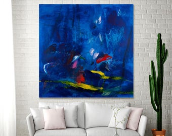 """Canvas art Dark Blue Painting Large Abstract painting 36x36 Modern painting sea """"The Camel's Journey 04"""" by Duealberi"""