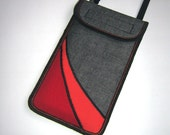 NEW iPhone 7 plus case Small Sling Bag smartphone neck pouch Crossbody Purse cellphone cover Handmade Bag mix fabrics in Gray Orange Red