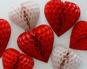4  heart shaped honeycomb Decorations  set- custom color / hanging party / decorations / birthday decorations / valentine's decor