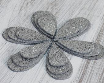 18pcs  Leather Teardrop Shape , Gray Silver Genuine Leather, Metallic Leather