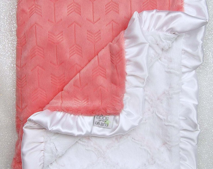 READY TO SHIP Minky blanket, baby girl blanket, baby gift, embossed arrow, coral and white, Custom minky, luxe lattice, pink and white