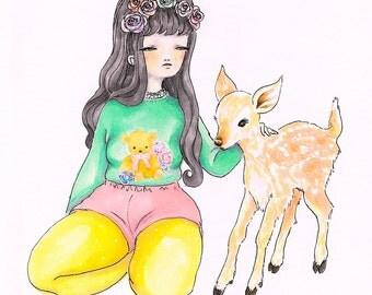 deer friend - original drawing