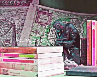 Paris Photography, Hot Pink, Preppy Dorm Decor, Map of Paris Print, Books, Pink & Green, Parisian, Paris Teen, Eiffel Tower, Vintage Map Art