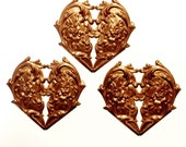 Heart Stampings, Brass Floral Hearts, Victorian Vintage Jewelry Supplies, Gingerbread Brass, Us Made, B'sue Boutiques, 61 x 65mm, Item0977