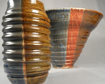Pair of large vintage studio pottery vessels, flared bowl and open mouthed vase, stamped