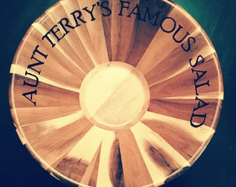 Personalized Wooden Salad Bowl, Popcorn Bowl, Serving Bowl