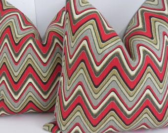 Zig zag Pillow Cover, Red Pillow Cover, Gray Red Pillow Cover, Chevron Pillow, Red Gray Pillow Covers, Gray Pillow, Pillow Cover