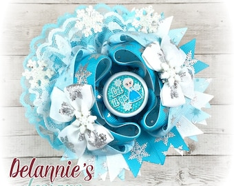 Let it go Over The Top Hair Bow ~ Stacked Boutique Bow ~ OTT Hairbows