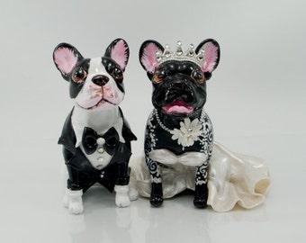 French bulldog wedding handmade skull dogs collections cake topper