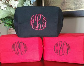 Large Waffle Bag. . .Wedding Gifts for Bride, Bridesmaids, Moms. Great for Makeup, Travel or just to help you organize - Monogrammed FREE