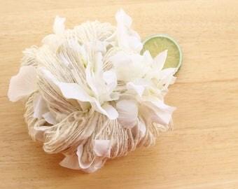 June Bride - Handspun Alpaca Silk Yarn with Flowers White Cream