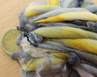 Stormwatch CURLS - Handspun Merino Wool Yarn Thick and Thin Skein Grey Yellow