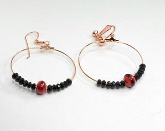 Handmade hoop earrings copper wirework clip on can be pierced by Pat2