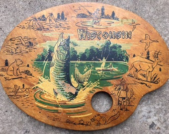 Vintage Wisconsin Tourist Collectible Pallet hunter Fish Fishing Duck Boat Canoe Deer