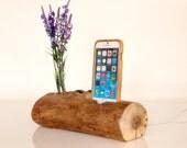 Wooden iPhone Dock - iPhone 7 dock - iPhone 6 dock - vase holder - unique design - rustic iPhone dock - Unique gift