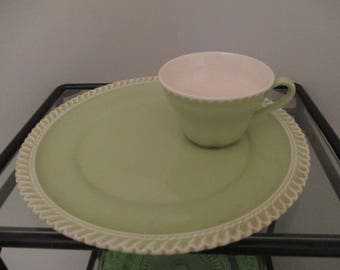 Vintage Harker Ware Pottery Light Green Luncheon Set - 4 Trays/4 Cups