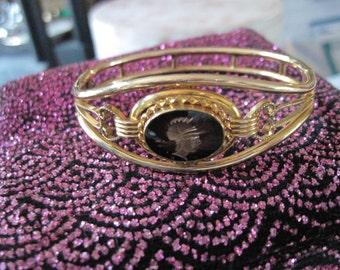 Art Deco Intaglio Knight Gold Colored Bracelet