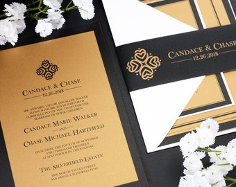 SAMPLE Custom Wedding Invitation Suite - Classic Crest Wedding Invite SAMPLE - Personalized Wedding Invitations - Full Wedding Suites