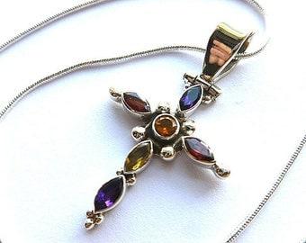 STERLING & GEMSTONES Cross, Multi Gemstones 925 Silver Vintage Cross, Amethyst Garnet Citrine Cross, Gemstone Cross with Chain, Gem Necklace