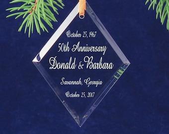 50th Wedding Anniversary Diamond Christmas Keepsake Ornament