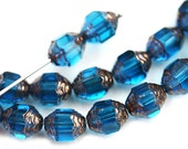 Cathedral barrel beads, Indicolite Blue Czech Glass beads, copper ends, fire polished - 8x6mm - 15Pc - 2480