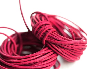 1.5mm Round Leather cord - Vintage Red - 10 feet, LC084