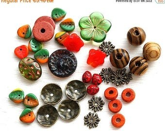 30%OFF SALE Red Autumn Bead soup, beads mix, czech glass, greek beads, wooden beads, leaves, spacers, different shapes - BB4